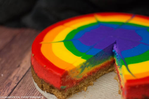 rainbow cheesecake with one slice removed
