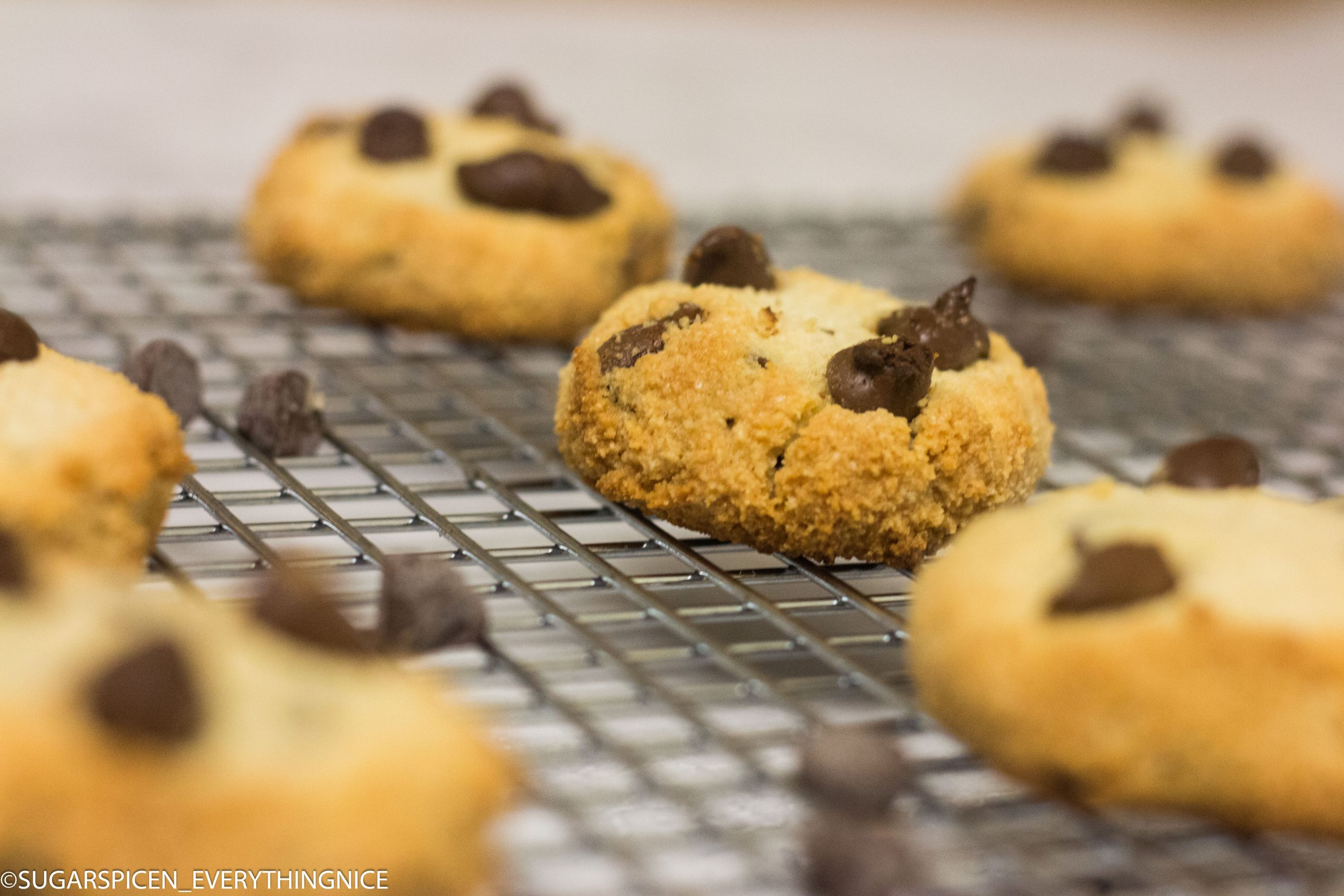 Almond flour chocolate chip cookies kept on a cooling rack