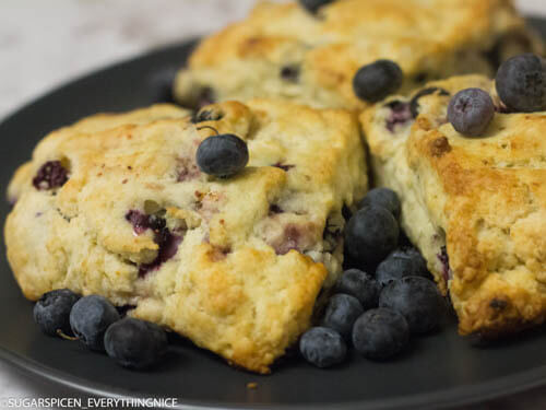blueberry scones kept on a plate