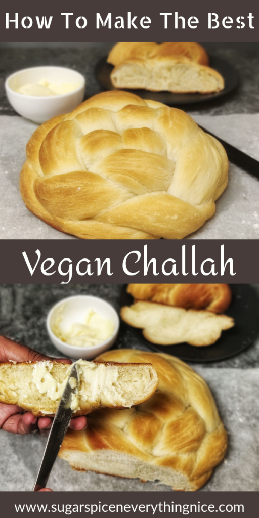 vegan challah bread with a bowl of butter on the side