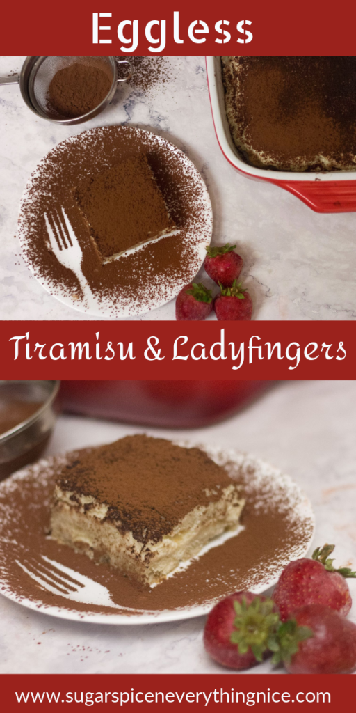 Eggless tiramisu covered in cocoa powder and 3 strawberries kept on the side