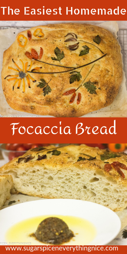Focaccia Bread decorated with herbs, pepper and tomatoes. And a cut focaccia showing air pockets with herb and olive oil mixture kept in front of it.