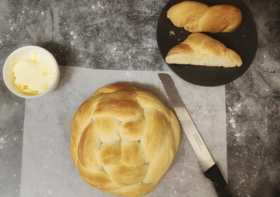 Round Challah Bread with a side of vegan butter