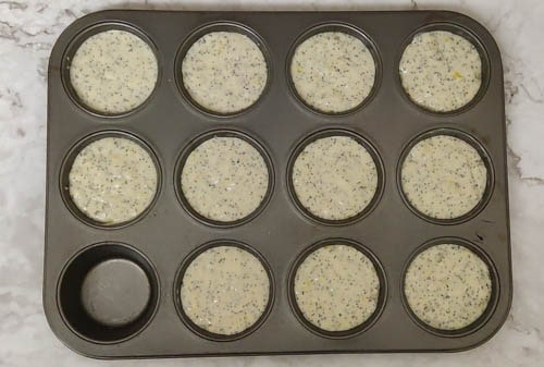 lemon poppy seed muffin - grease muffin tray and fill up to 2/3rd