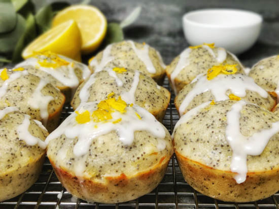 lemon poppy seed muffin with zest on top
