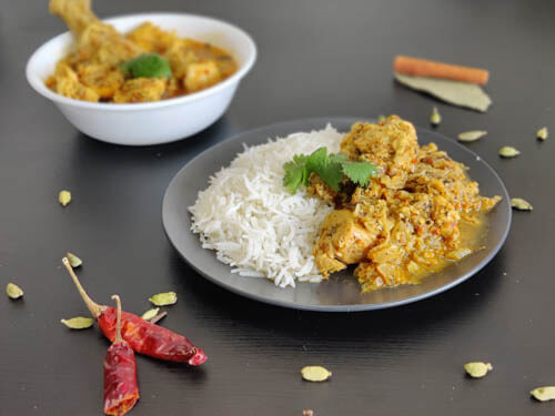 chettinad chicken with a side of white rice