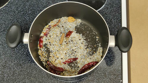 all spices and coconut roasted in the pot