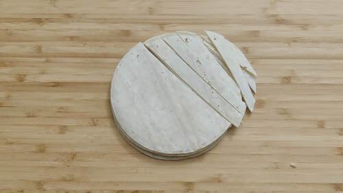 cutting tortilla in strips
