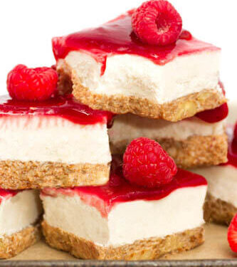 Coconut cheesecake with raspberry toppings