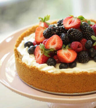 Eggless no bake cheesecake with berries ontop