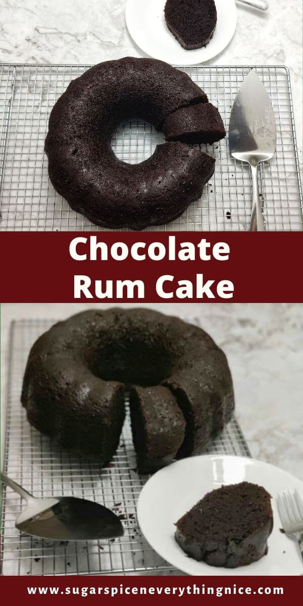 chocolate rum cake with one piece cut -top view and side view
