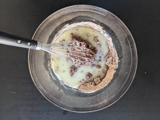 mixed dry and wet ingredients in a bowl