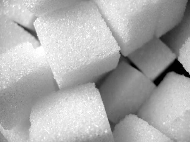 cane sugar in the form of sugar cubes